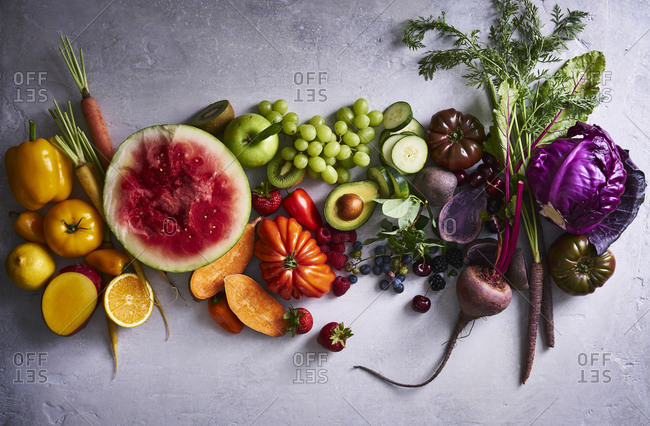 Variety of fresh colorful produce