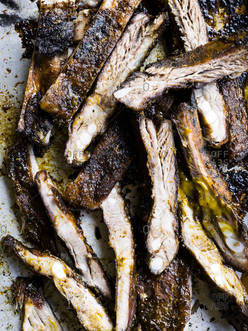 Barbecued ribs in a pile