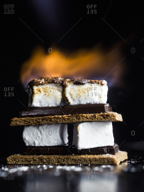 Flaming s'mores