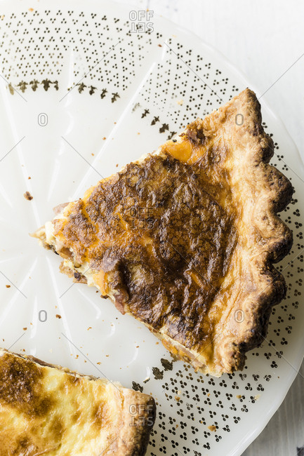 Overhead view of a slice of quiche