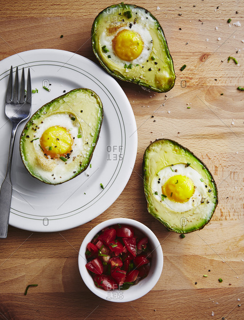 Fried eggs in avocados