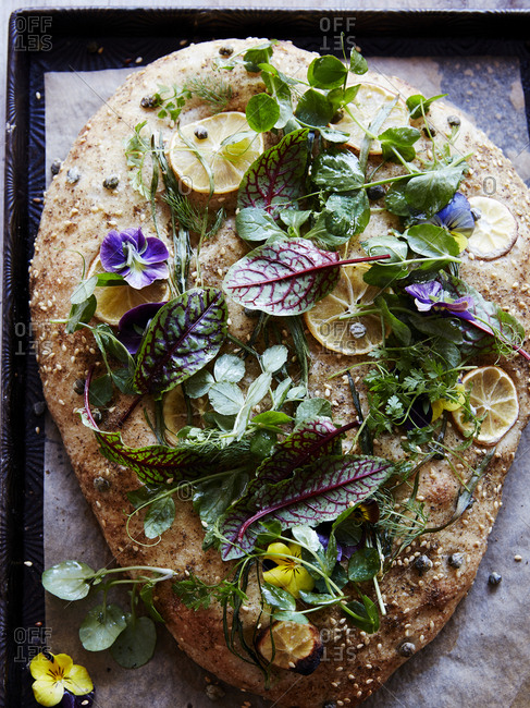 Spring herb and lemon focaccia