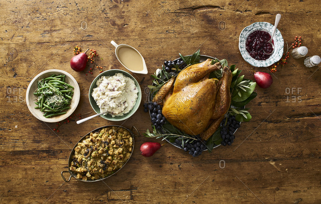 Turkey and side dishes served for Thanksgiving dinner