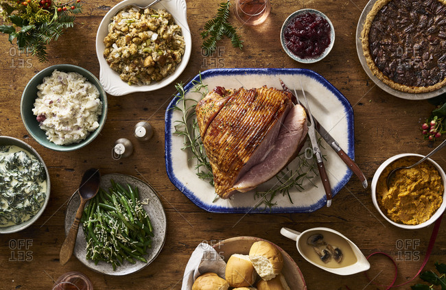 Holiday ham and dinner served on a table
