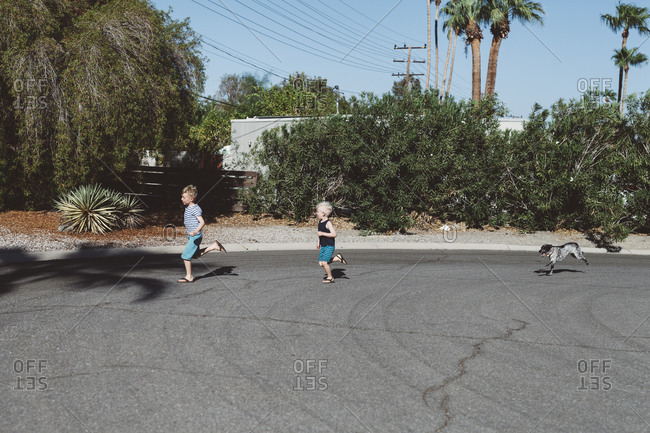 Two boys running in the street with a dog chasing them