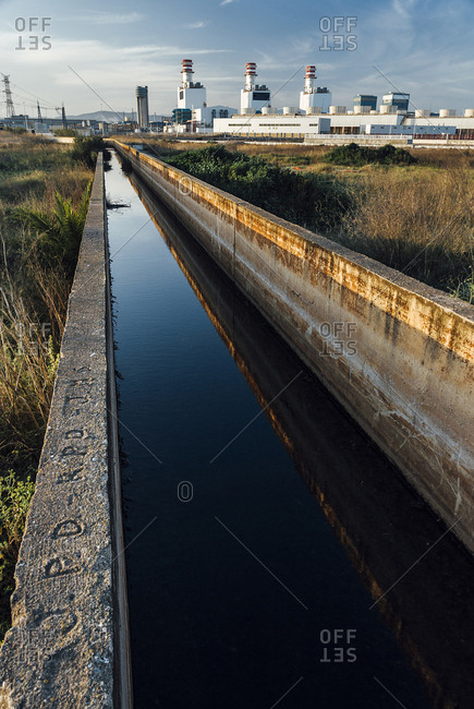 Irrigation ditch at thermical power plant in Sagunto, Spain