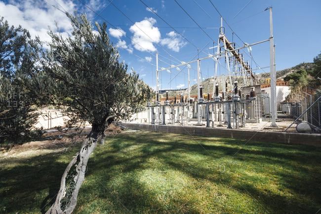 Electricity structure at Salto Bolarque dam in Guadalajara, Spain