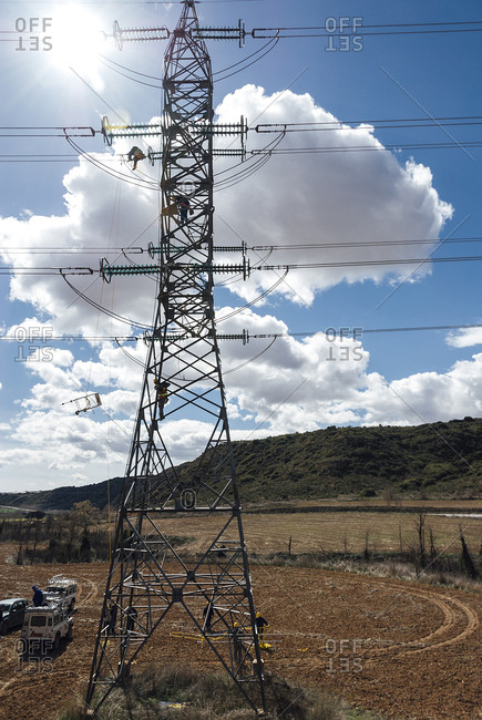 Guadalajara, Spain - March 4, 2008: Electricity structure at Salto Bolarque dam in Guadalajara, Spain