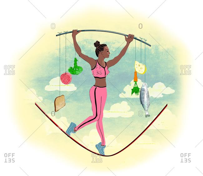 Sportswoman holding power balance