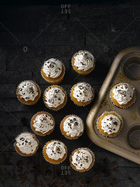 A tray of freshly baked Vanilla cupcakes