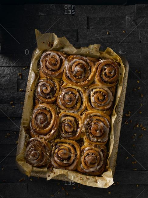 A tray of freshly baked sticky buns