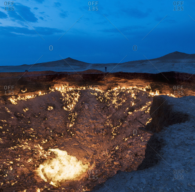 Hot volcanic crater at dusk