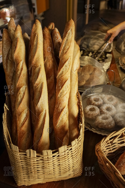 Basket of bread in bakery