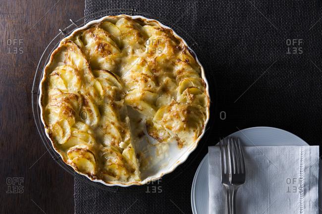 Potato pie on table