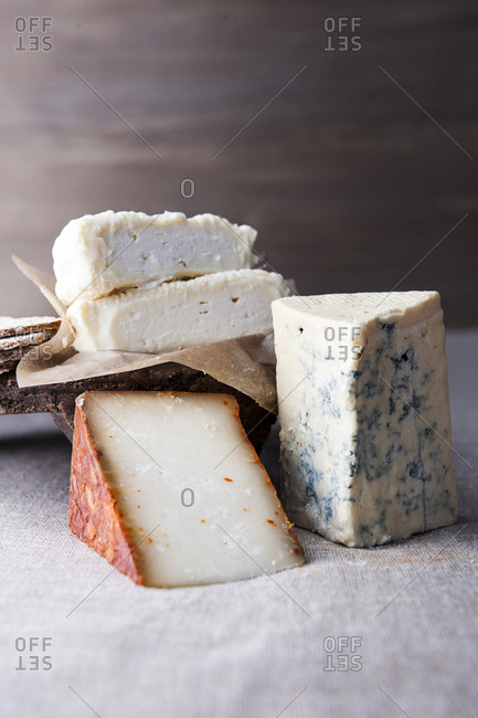 Wedges of artisanal cheese