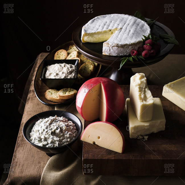 Assorted cheeses and dips and bread