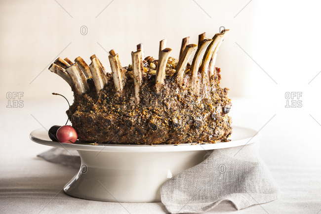 Stuffed lamb crown roast on tray