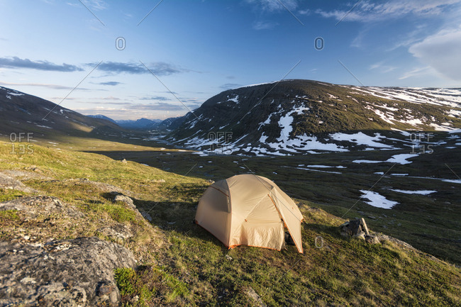 Camping tent in remote landscape
