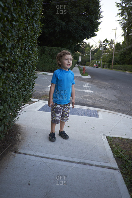 Boy standing next to hedge on street corner