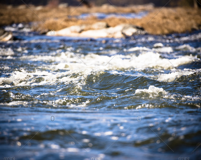 Swiftly flowing surface of the Potomac River in Maryland
