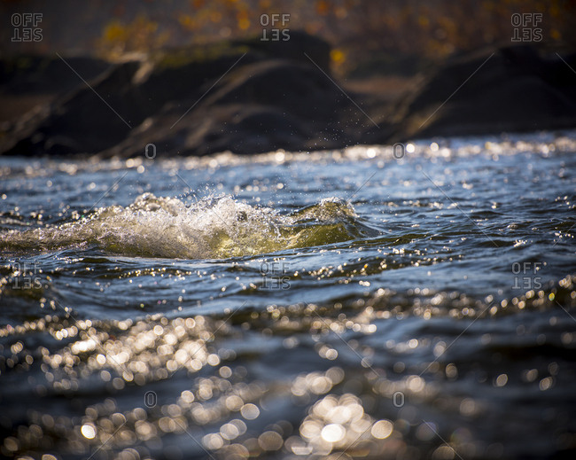 Rapids on the surface of the Potomac River in Maryland