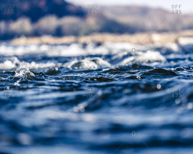 Surface of swiftly flowing water in the Potomac River in Maryland