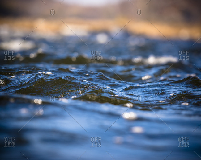 Surface of flowing water in the Potomac River in Maryland