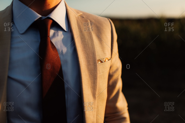 Close up of a groom wearing tan jacket and necktie