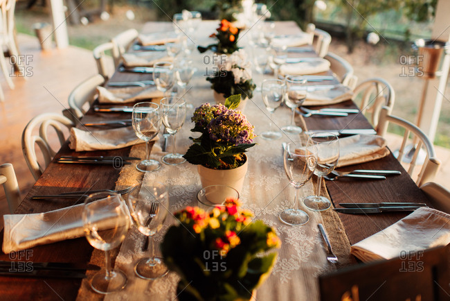 Tables at an outdoor wedding reception