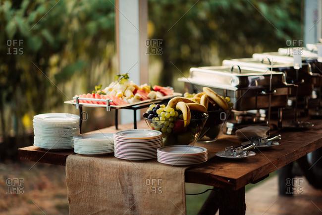 Dinner buffet at a wedding reception