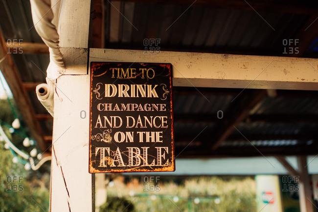 Wedding reception decorative sign