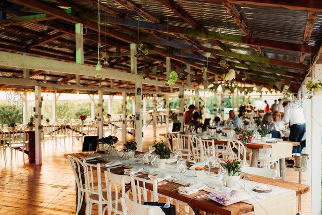 Tables and guests at a wedding reception