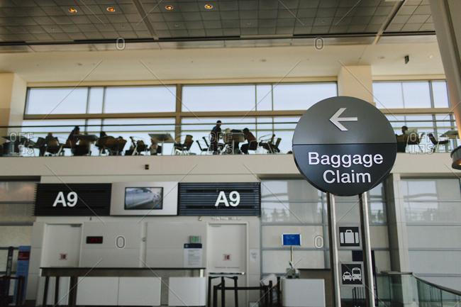 Baggage claim sign in San Francisco International Airport