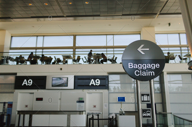 Baggage claim sign in San Francisco International Airport