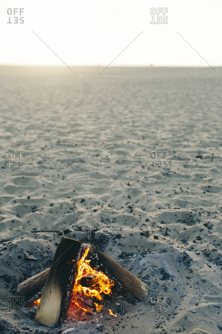 Still life of beach bonfire in San Francisco