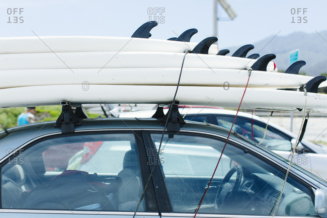 Still life of surf boards on top of car in San Francisco, California