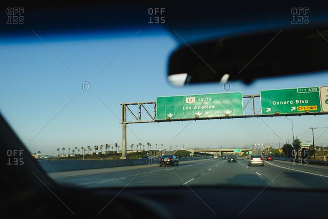 Los Angeles, California, USA - June 19, 2015: Highway sign entering Los Angeles, California