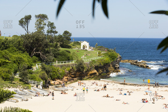 Sydney, Australia - February 24, 2017: Many people relaxing on Coogee Beach