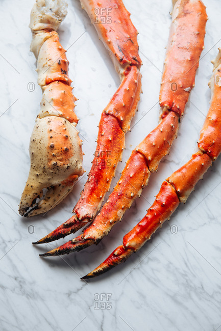 Arrangement of crab legs and claw