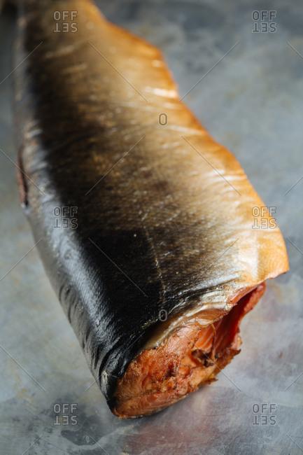 Whole smoked salmon with head removed