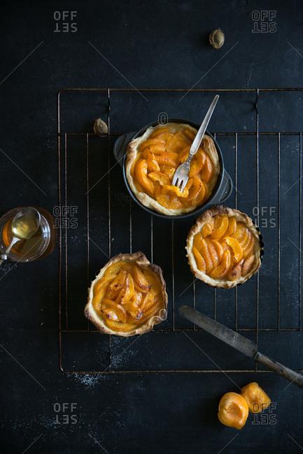 Fresh baked apricot tarts on cooling rack