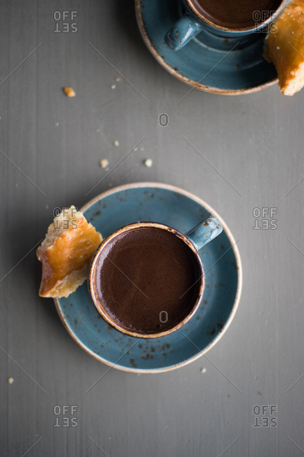 Cup of espresso with pastry