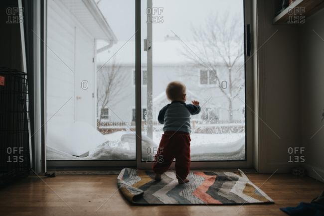 Baby standing looking out glass door