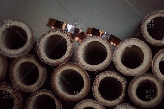 Wedding rings on top of hallow wooden rods