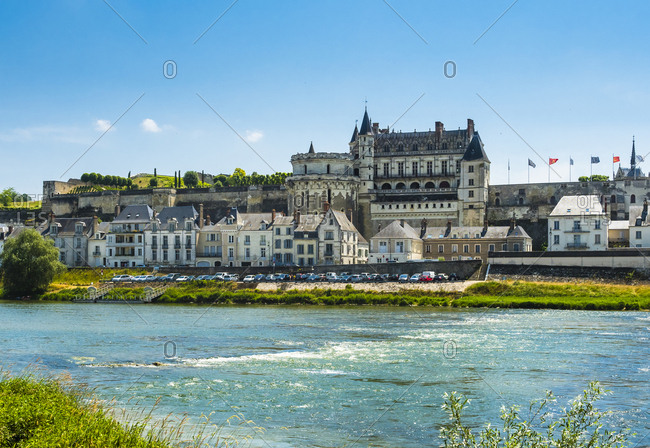 France, Amboise - June 9, 2015: View to Chateau d'Amboise