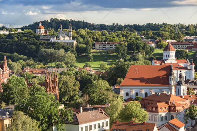 Lithuania- Vilnius- view to the old town from Gediminas Tower