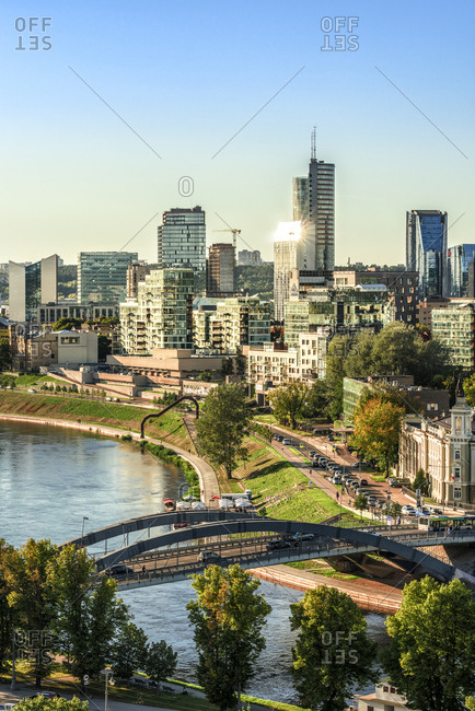 Lithuania, Vilnius - August 24, 2016: View to the modern city of Vilnius with Europa Tower and Neris River in the foreground