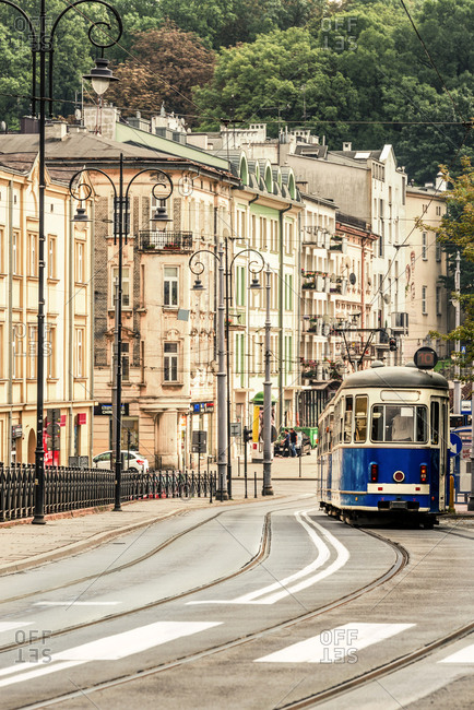 Poland, Krakow - September 7, 2016: Tram in the Old Town