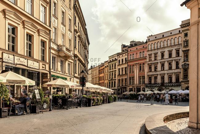 Poland, Krakow - September 7, 2016: Town houses at Main Square