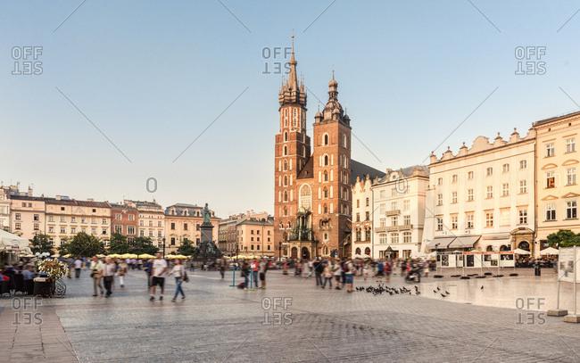 Poland, Krakow - September 7, 2016: Main Square- St Mary Basilica and town houses